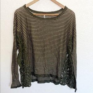 Free People Olive Green Striped Lace Side Top
